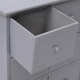 vidaXL-kaappi, jossa 6 laatikkoa harmaa 60x30x75cm Paulownia puu