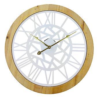 Orologio da parete in metallo bianco numerico romano tagliato 45 cm
