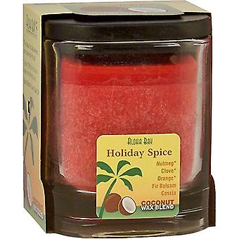 Aloha Bay Eco Palm Square Jar, Holiday Spice Red 8 oz