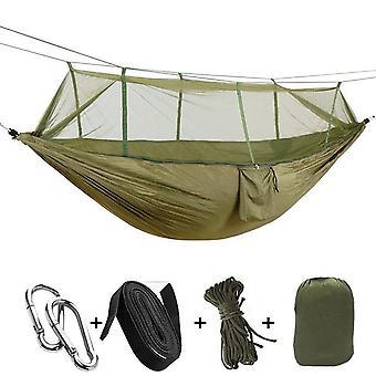 Moustiquaire portable hamac tente réglable sangles et mousqueton double sauvage extérieur dormir et reposer hamac 260 * 130cm