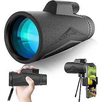 المحمولة 12x50 HD أحادية، المضادة للضباب للماء تلسكوب أحادي مع ترايبود مع محول الهاتف الذكي، لمشاهدة الطيور، المشي لمسافات طويلة مشاهدة المعالم السياحية، لعبة الكرة، (أسود)