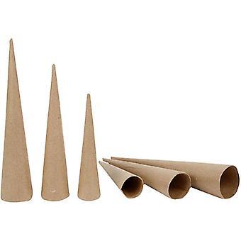 3 assorti Papier Mache kegels voor het decoreren van 20, 25 & 30 cm hoog | Dozen van papier Mache
