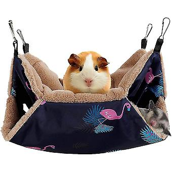 Small Pet Cage Hammock Hanging Bed For Small Animals Hammock Bedding(Flamingo)