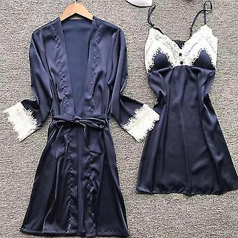 Robes kvinnor satin spets intima sovkläder set nightgown robe brudklänning sm163412