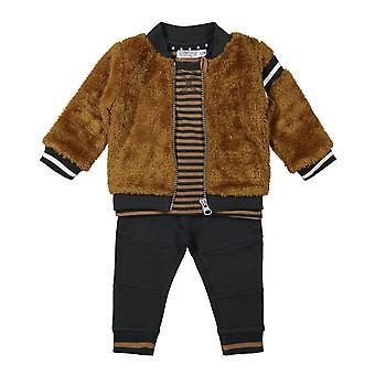 Dirkje Boys Set de ropa de 3 piezas Antracita + Marrón desvanecido