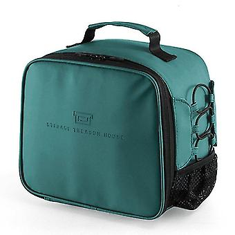 Household storage bags 1pc women portable insulation cooler bag pu leather thermal lunch bags green