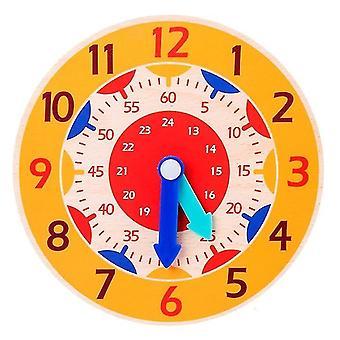 Childrens montessori wooden clock teaching aid toys(Orange)