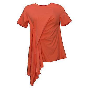 DG2 door Diane Gilman Women's Top Asymmetric Drape-Front Tee Pink 742557