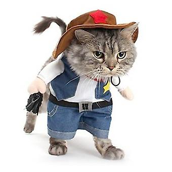 Pet Dog Cat Cowboy Farmer Jelmez Kapucnis ingek Halloween kezeslábas Kiskutya Ruhák Vicces kabát
