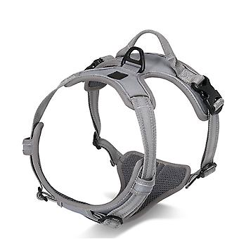 Pet Dog Chest Harness For Medium Dogs To Prevent Breaking Off, Adjustable Explosion Proof Leach Belt Reflective Tape  (bust 69-81cm Gray