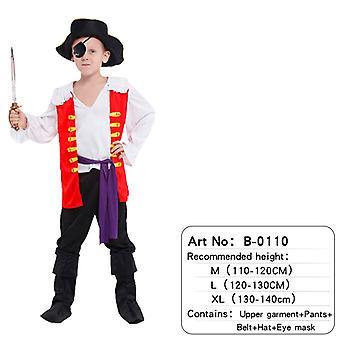 Kinder Piraten Kostüm mit Schuhen, Hut und Gürtel für Jungen und Mädchen Kinderkleidung Fluch der Karibik Captain Set-(b0110)