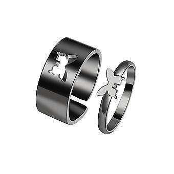 טבעת זוג להגדיר ins רוח גברים ונשים אישיות כוכב פרפר פתח טבעת אצבע