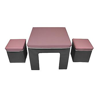 Cosco Pink & Grey Folding Fabric Kids Activity Table & Storage Ottoman Set