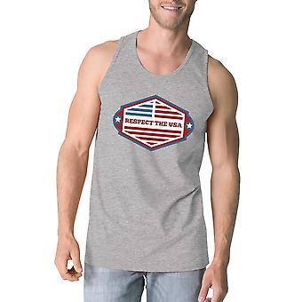 احترام الولايات المتحدة الأمريكية رمادي رجالي قميص بلا اكمام مضحك 4 تموز/يوليه الدبابات