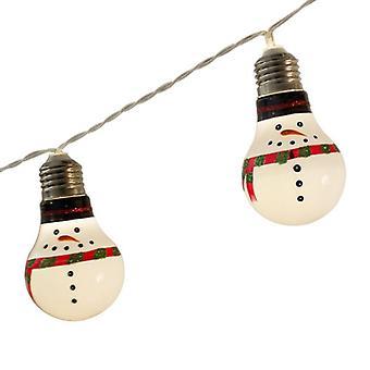 Nuovo Set di 10 luci LED Natale pupazzo di neve lampadina stringa Natale luci batteria 2Xaa