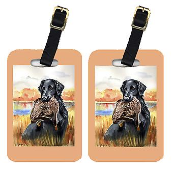 Carolineøerne skatte 7032BT par 2 Flat Coated Retriever bagage Tags
