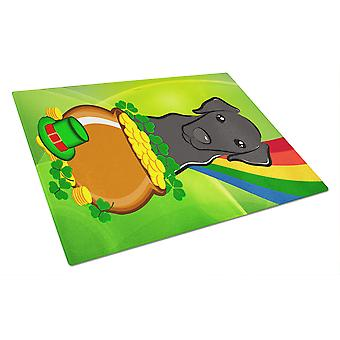 Black Labrador St. Patrick's Day Glass Cutting Board Large