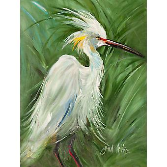 Hvit Egret i grønt gress flagg lerret huset størrelse