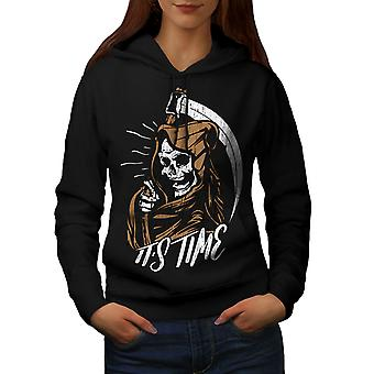 Grim Reaper Time Horror Women BlackHoodie | Wellcoda
