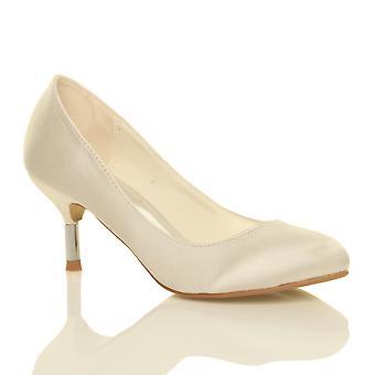 Ajvani womens mid low heel wedding prom bridal party Diamante court shoes pumps