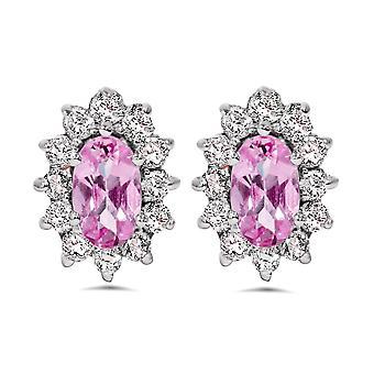 3/4ct Halo Diamond Pink Topaz Studs 14K White Gold