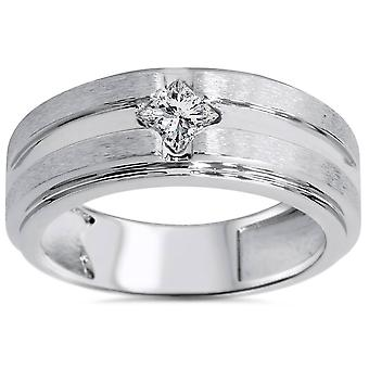 3 / 8ct Mens Princess Cut Diamond trouwring 14K witgoud