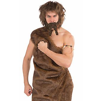 Viking Raider Medieval Norse Warrior Barbarian Men Costume Brown Beard Moustache