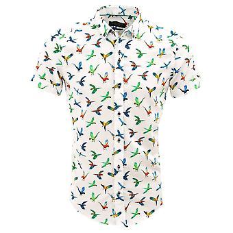 Guia Londres branca de algodão colorido papagaio impressão Mens camisa de manga curta