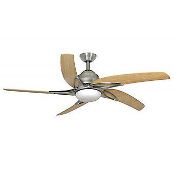 Plafonnier ventilateur Viper acier / érable avec lumière 137 cm/54