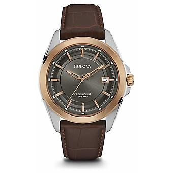 Bulova Mens brun stroppen grå Dial Rose gull saken 98B267 Watch