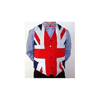 ユニオン ジャックがユニオン ジャック チョッキと蝶ネクタイを着用します。