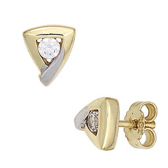 Stud Earrings triangular 333 gold yellow gold part rhodium plated 2 cubic zirconia earring gold
