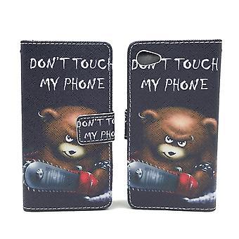 Handyhülle Tasche für Handy Sony Xperia Z5 Compact Schriftzug Bär mit Kettensäge