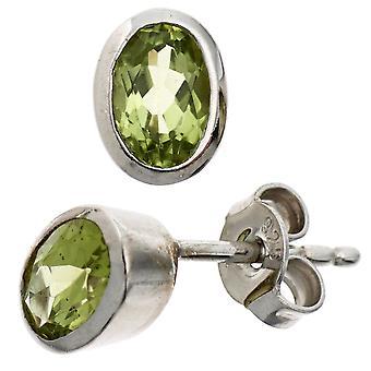 Brincos verde 925 prata esterlina ródio chapeado prata brincos de Peridote