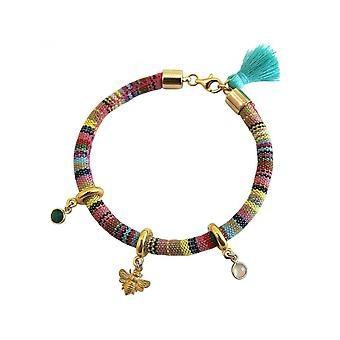 -925 silver plated - AZTEC - BEE - bee - Emerald - Green Pink ladies - bracelet - Rose Quartz-