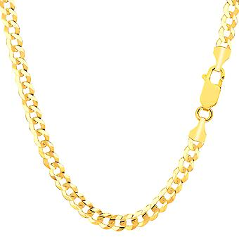 14k Yellow Solid Gold Comfort Curb Chain Bracelet, 4.7mm, 8.5