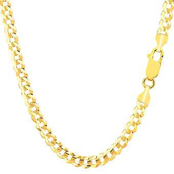 14 k giallo solido Comfort oro Bracciale catena cordolo, 4,7 mm, 8.5