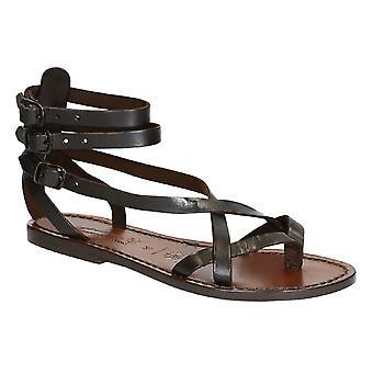 Handgemaakt in Italië womens slave sandalen in donker bruin leer