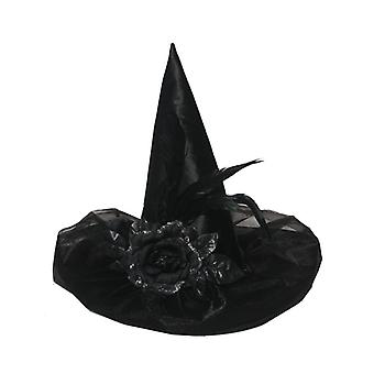 Henbrandt Deluxe Black Satin Witch Hat With Feather & Flower