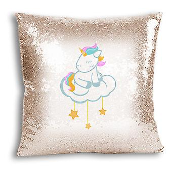 i-Tronixs - Unicorn Printed Design Champagne Sequin Cushion / Pillow Cover with Inserted Pillow for Home Decor - 1