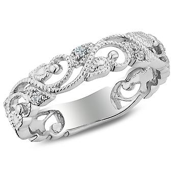 1/10 Carat (ctw I2-I3) Accent Diamond Filigree Ring Band in Sterling Silver