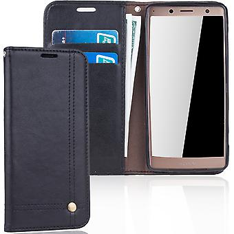 Cell phone cover case voor Sony Xperia XZ2 compact cover wallet Pouch zwart