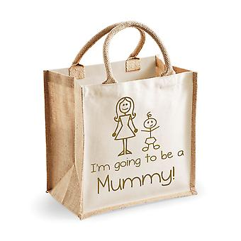 Medium Natural Gold Jute Bag I'm Going To Be A Mummy