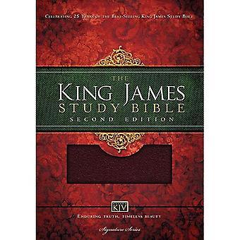 Bible Study KJV legato in pelle Borgogna (Nelson Kjv firma)