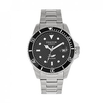 Heritor automatisk Lucius armband Watch w/datum-Silver/svart