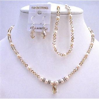 Ivory Pearls & Golden Shaodow Swarovski Crystals Bridal Jewelry Set