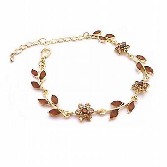 Gold Plated Bracelet w/ Enamel Smoked Topaz Crystals Brown Bracelet