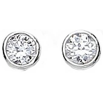 Bella 4mm Cubic Zirconia Rubover Stud Earring - Silver/White