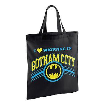 Batman stof taske, trykt shopping i Gotham sort, 100% bomuld.