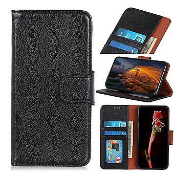 Samsung Galaxy A50 Brieftasche Fall strukturiert Split-Schwarz